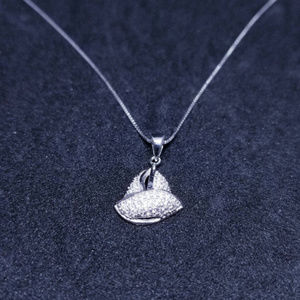 Silver Small Sailboat CZ Stones Pendant